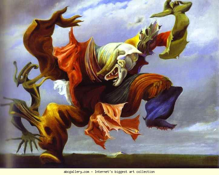 Max Ernst. L'Ange du foyer ou Le Triomphe du surréalisme. 1937. Oil on canvas. 114 x 146 cm. Private collection.